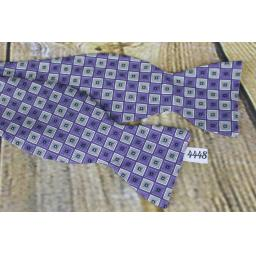100% Silk Self Tie Straight End Thistle Lilac Squares Pattern Bow Tie