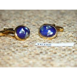 Vintage Cuff Links Gold Metal WIth Blue And Pearl Oval Art Glass Stones TP185