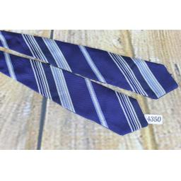 Superb Vintage Blue Ivory & Navy Striped Self Tie Arrow End Bow Tie
