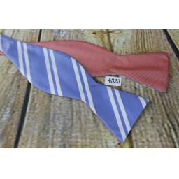 Saddlebred All Silk Self Tie Bow Tie Straight End Thistle Double Sided Reverseable Red/Blue Stripes