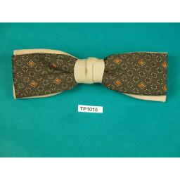 Vintage 1950s Clip On Bow Tie Ormond U.S.A Dusky Pink and Brown Pattern