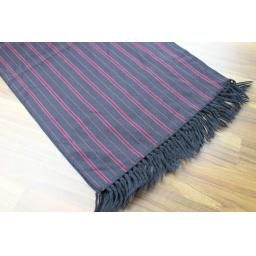 Vintage Mens Shubert 100% Wool Burgundy Black Striped Fringed Scarf Retro Mod