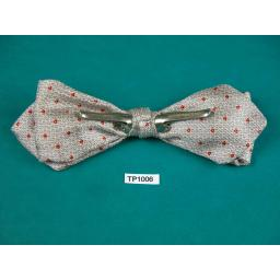 Vintage Silver Grey & Claret Small Pattern Arrow End Clip On Bow Tie