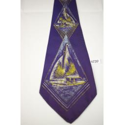 Vintage 1940s 1950s Purple Sailing Boat Textured Fabric Tie Lindyhop/Swing/Zoot Suit/Rat Pack