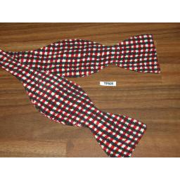 Vintage Self Tie Bow Tie Custom Made Thistle End Red/Black/White