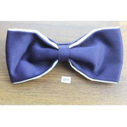 Vintage Clip On Bow Tie Navy Satin With Cream Trim