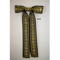 New Vintage Style Black & Metallic Gold Leaf & Floral Clip On Western/Cowboy/Kentucky Bow Tie
