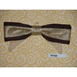 Vintage Clip On Gold Lam» and Burgundy Bow Tie