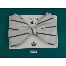 Super Bow Vintage White Navy Stripe Seersucker Large Clip On Bow Tie
