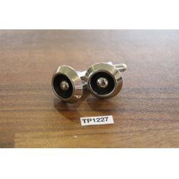 Vintage Black & Silver Metal Round Cufflinks