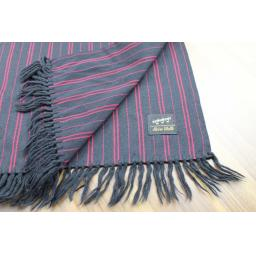 Vintage Mens Shubert 100% Wool Burgundy Black Striped Fringed Scarf Retro Mod