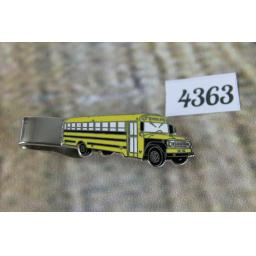 Silver Metal And Enamel Large Yellow American School Bus Tie Clip 2""