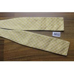 Vintage Self Tie Bow Tie Square End Paddle Gold & Cream Textured