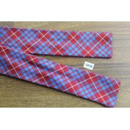 Vintage Arrow All Silk Self Tie Bow Tie Straight End Skinny Tartan Plaid Blue Red