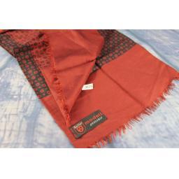 Vintage Meifter Modell Italian Wool & Silk Burgundy & Black Circles & Squares Pattern Scarf
