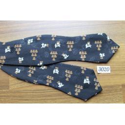 Vintage Brown Cream Black Jacquard Self Tie Arrow End Bow Tie