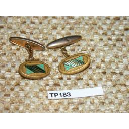 Vintage Gold Metal and Enamel Cuff Links 1930s/40s TP183
