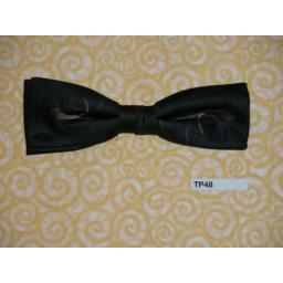 Vintage Clip On Charcoal With Gold Motif Bow Tie