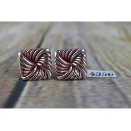 "Vintage Large Square Knot Silver Metal Red Enamel Highlights 3/4"" Square"
