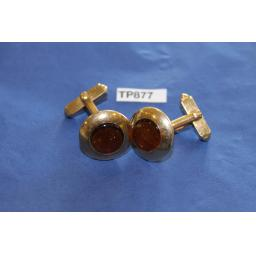 Vintage Swank Cuff Links Gold Metal WIth Amber Glass Moonstones
