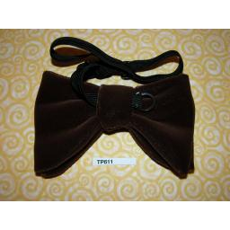 Vintage Pre-Tied Bow Tie Brown Velvet Drop Bow One Size Fits all