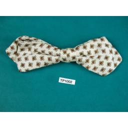 Vintage Ivory & Brown Small Pattern Arrow End Clip On Bow Tie