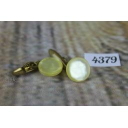 Vintage Cream Mother of Pearl Round Button Chain Link Cuff Links 1/2""