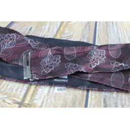 Vintage Moss Bros Burgundy & Silver Floral Adjustable Pleated Cummerbund
