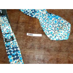 Vintage All Silk Blue Navy Beige & Beige Pointed Thistle Self Tie Adjustable Length Bow Tie
