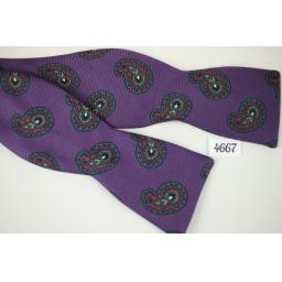Vintage Ribbed Fabric Purple Paisley Self Tie Straight End Thistle Bow Tie