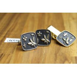 Vintage Gold Metal & Black ~ Bee and Fleur De Lis Cuff Links And Tie Pin Set