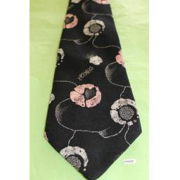 "Vintage Retro Tootal 1970's Wide Kipper Tie Black Pink White Floral 4.5"" Wide!"