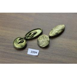 Vintage Embossed Gold Metal Round & Oval Reversable Chain Connect Cuff Links 1950s