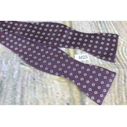 Vintage Robert Talbott 100% Silk Self Tie Straight End Thistle Bow Tie Burgundy Repeat Pattern