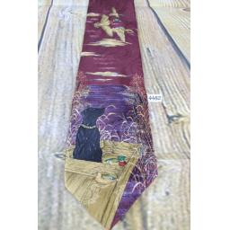 Superb Vintage 100% Silk Ducks Unlimited 1980s Burgundy Duck Hunting Shooting Dog Labrador Design Tie