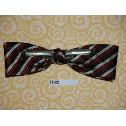 Vintage Clip On Bow Tie Brown/Terracotta/ Off White Stripe