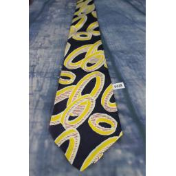 "Superb Vintage 1940s/1950s PureSilk Resilient Navy & Gold Tie 4"" Wide New With Tags Lindyhop/Swing"