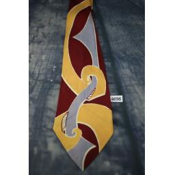 "Superb Vintage 1940s/1950s Short Length Tie 3.25"" Wide Burgundy Peach & Grey Pattern"