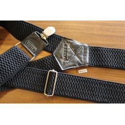 VintagePacco Retro Wide Clip On Elasticated Black Braces 80s/Wall Street