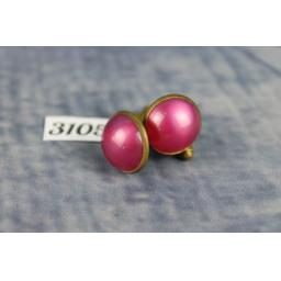 Vintage Gold Metal Pearly Pink Lucite Cabochon Cufflinks