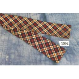 Vintage Self Tie Straight End Bow Tie Plaid Tartan