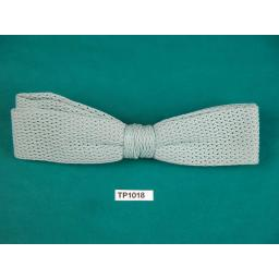 Vintage Pale Green Open Weave Fabric Square End Clip On Bow Tie