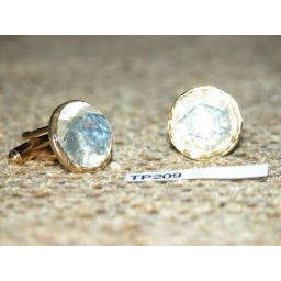 Vintage Cuff Links Gold Metal Large Round Faceted Glass Stones TP209