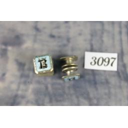 "Vintage Silver Metal Double Sided Pop Fastener Enamel ""B"" Initial Decorative Cufflinks"