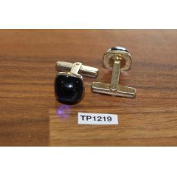 Vintage Gold Metal Cuff Links Blue Lucite Gems