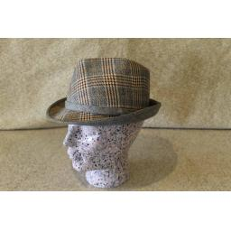 Vintage Plaid Trilby Contrasting & Matching Ribbon and Under Brim 56cm
