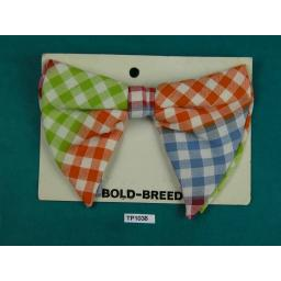 Bold Breed Pastel Check Large Clip On Drop Bow Tie