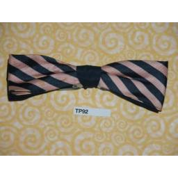 Vintage Clip On Bow Tie Blue & Pink Stripe