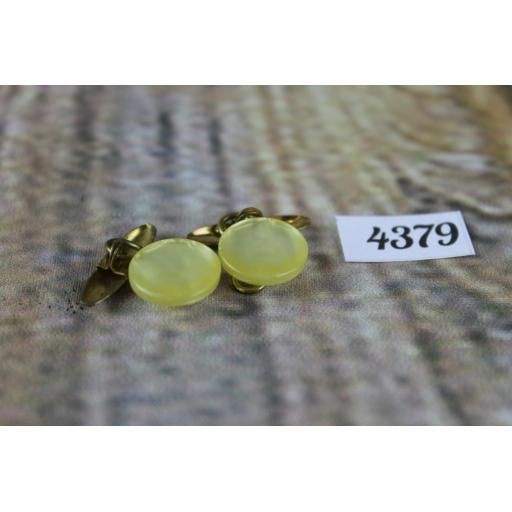 """Vintage Cream Mother of Pearl Round Button Chain Link Cuff Links 1/2"""""""