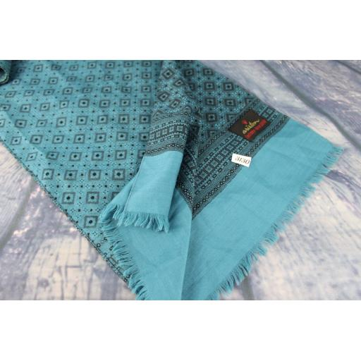 Vintage Ariston Cashmere & Pure Wool Black & Blue Pattern Scarf